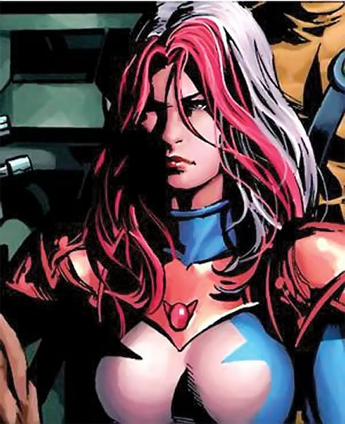 Songbird of the Thunderbolts (Marvel Comics) face closeup with blue and white costume