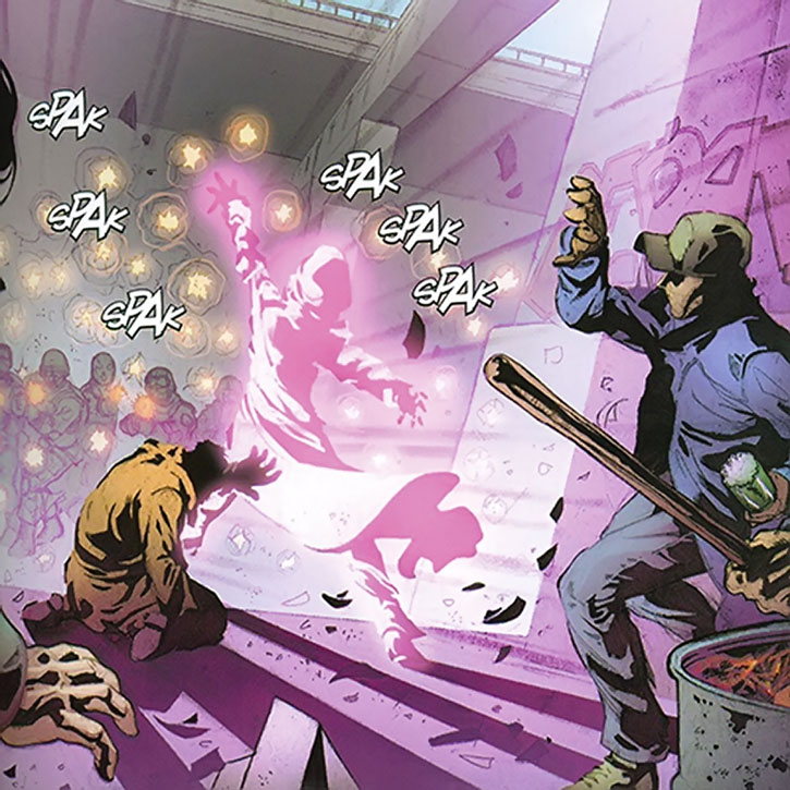 Songbird (Melissa Gold) blocks a hail of bullets wither her powers