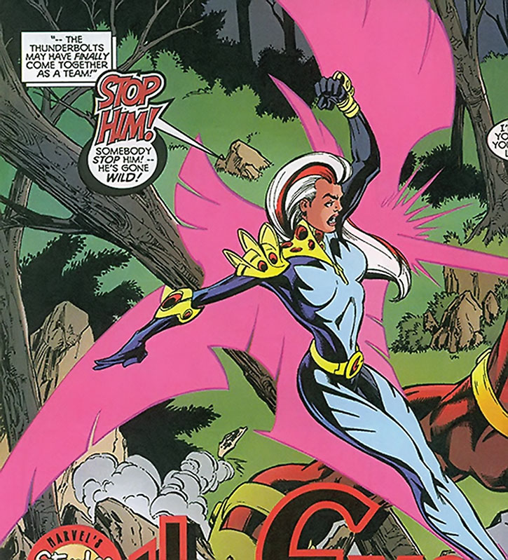Songbird (Melissa Gold) flying and using her powers