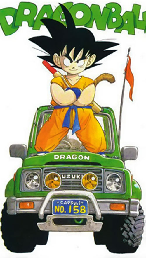 Songoku at age 15 (Dragon Ball) standing on a green jeep