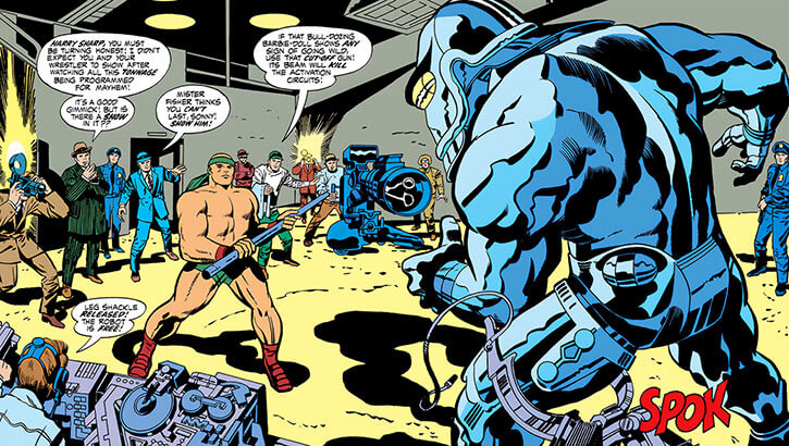 Sonny Sumo (DC Comics) about to fight a Jack Kirby robot