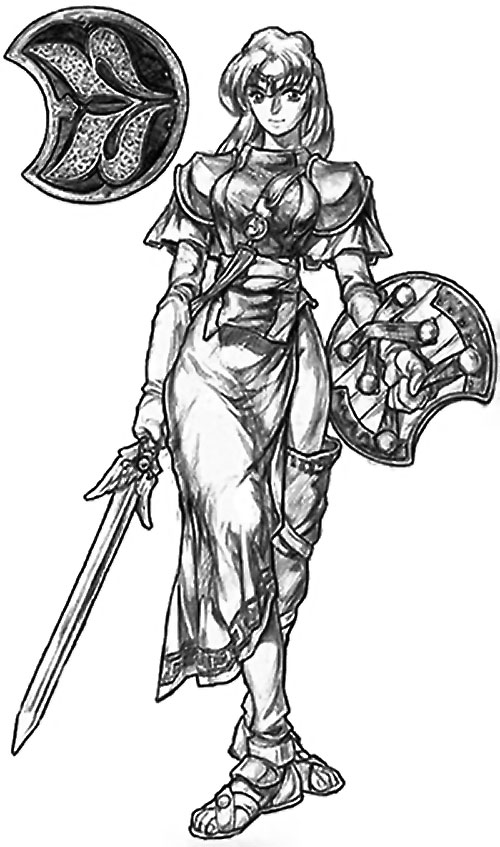 Sophitia Alexandria (Soul Calibur) B&W concept art with armour, shield and long skirt