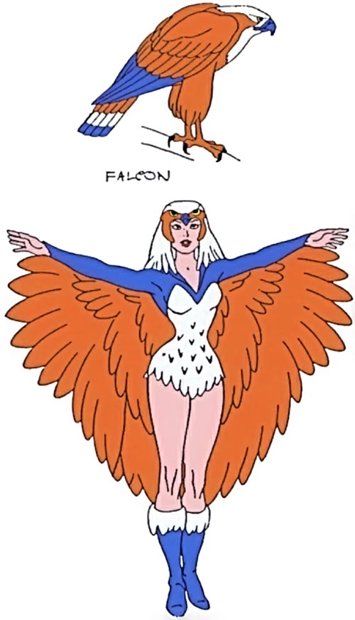 Sorceress of Grayskull (Masters of the Universe 1980s cartoon) and Zoar falcon form