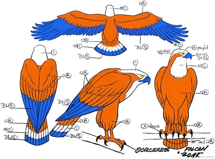 Sorceress of Grayskull (Masters of the Universe 1980s cartoon) - Zoar falcon model sheet