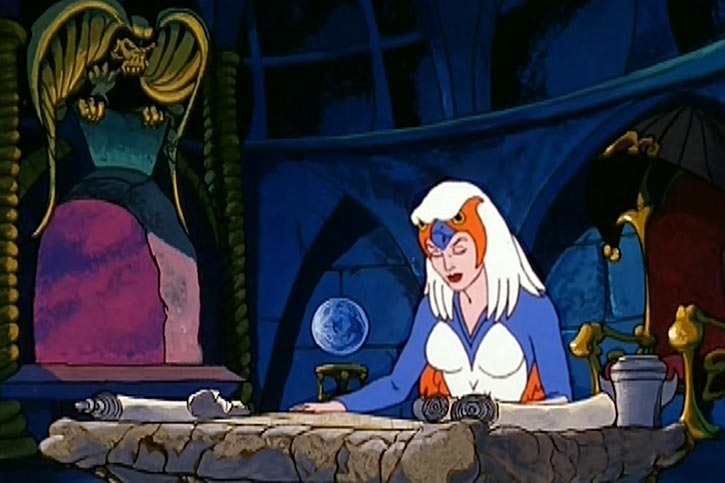 Sorceress of Grayskull (Masters of the Universe 1980s cartoon) studying