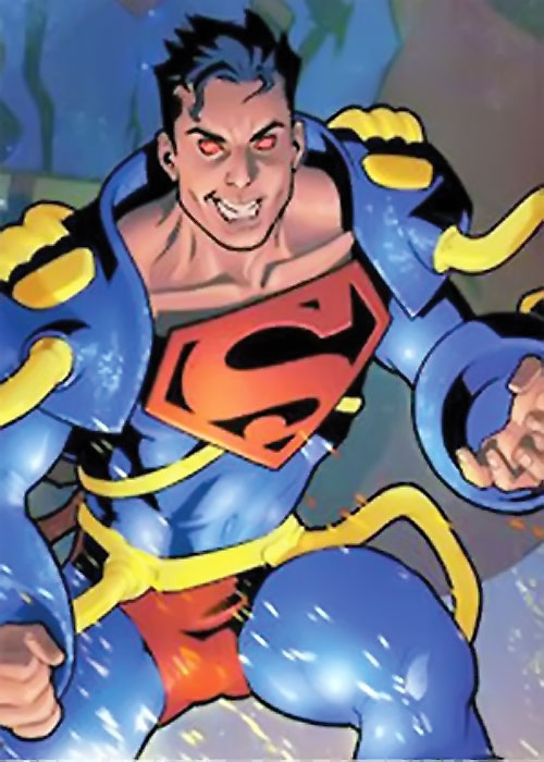Superboy of Earth-Prime (DC Comics) with the blue and yellow armor, looking crazy