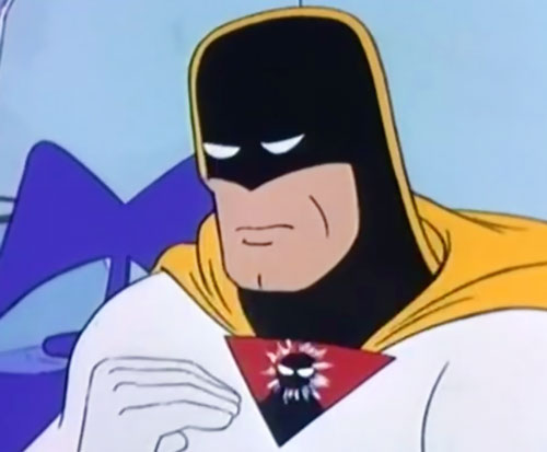 Space Ghost (Hanna Barbera cartoon) looking sad, communicator activating