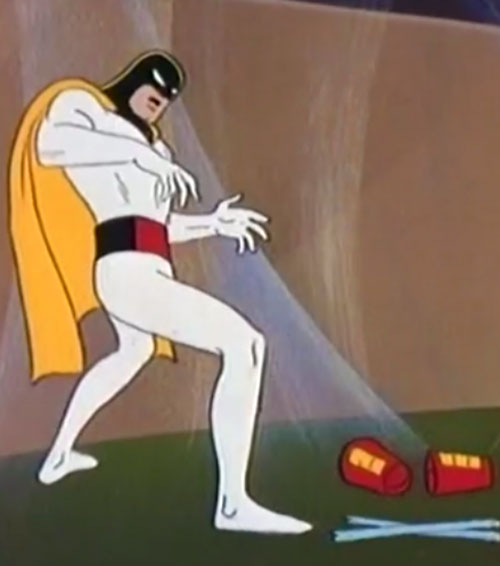 Space Ghost (Hanna Barbera cartoon) deprived of his bracers