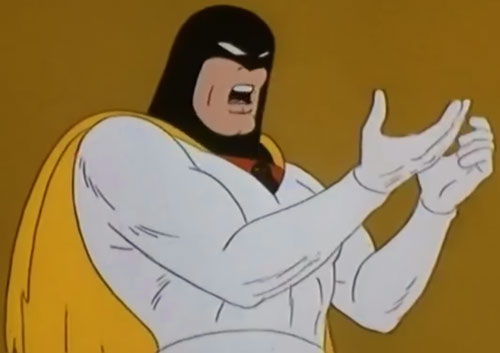 Space Ghost (Hanna Barbera cartoon) without his bracers, surprised