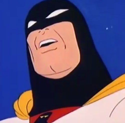 Space Ghost (Hanna Barbera cartoon) low angle face closeup