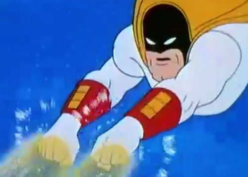 Space Ghost (Hanna Barbera cartoon) blasting with his fists
