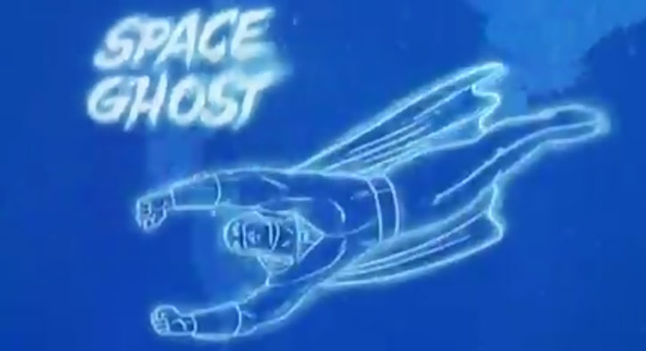 Space Ghost (Hanna Barbera cartoon) flying invisibly, with title