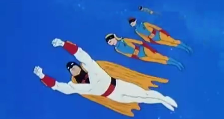 Space Ghost (Hanna Barbera cartoon) flying with the space patrol
