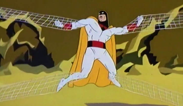 Space Ghost (Hanna Barbera cartoon) caught in webbing
