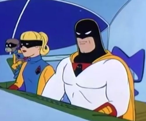 Space Ghost (Hanna Barbera cartoon) in the cockpit with Blip and Jan