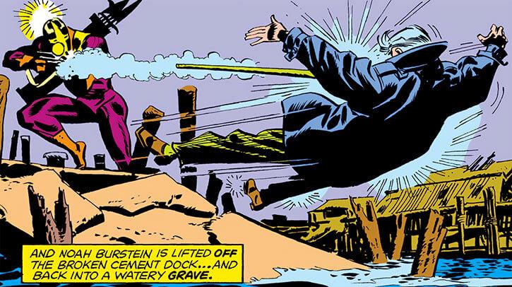 Spear (Luke Cage enemy) (Marvel Comics) killing Dr. Burstein