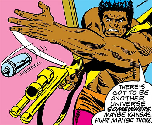 Spear (Luke Cage enemy) (Marvel Comics) throwing a grenade