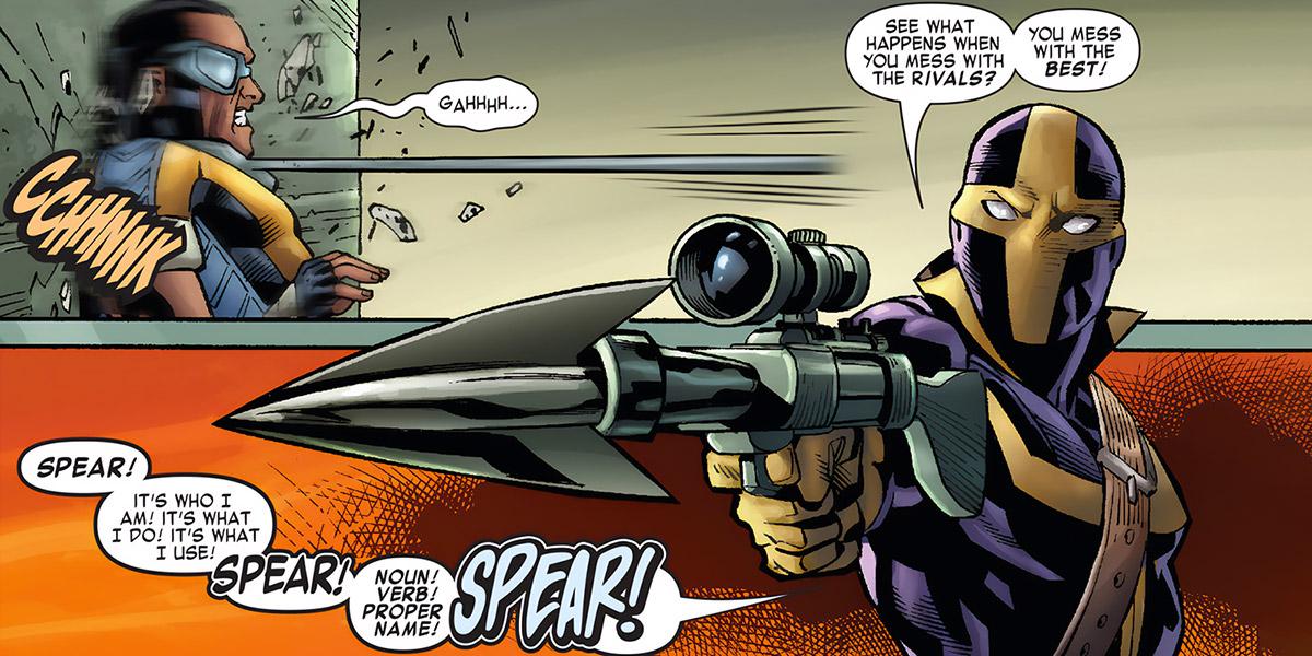Spear vs. Power Man (Marvel Comics)