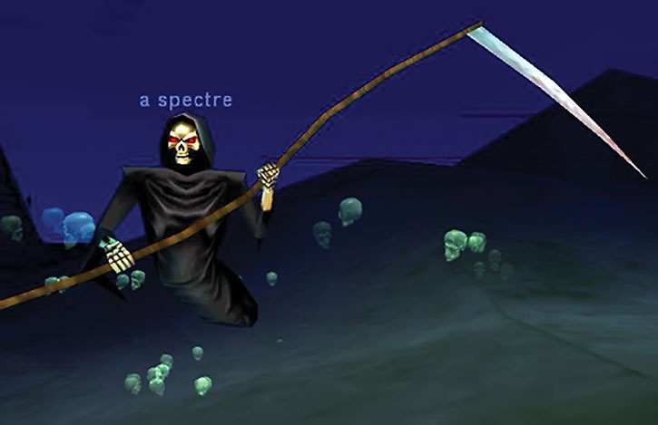 A spectre flying in the desert with the floating green skulls effect