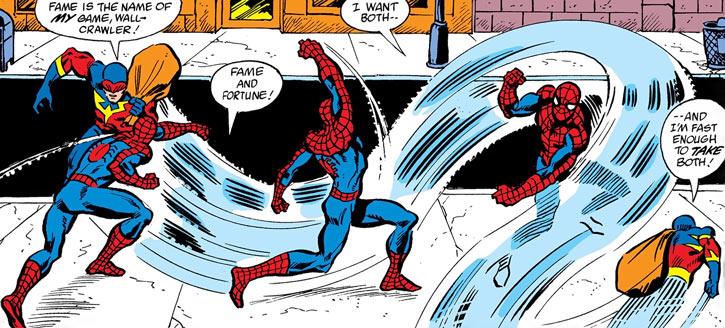 Speed Demon (James Sanders) dodging Spider-Man's blows
