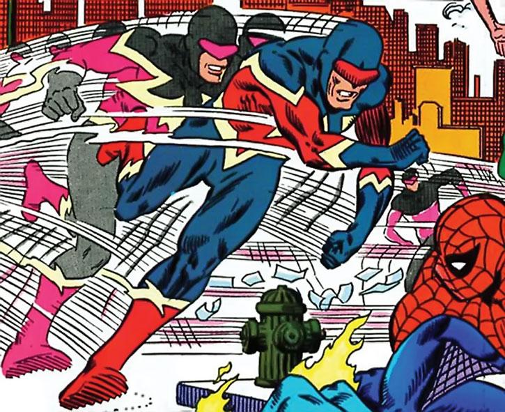 Speed Demon (James Sanders) attacking Spider-Man