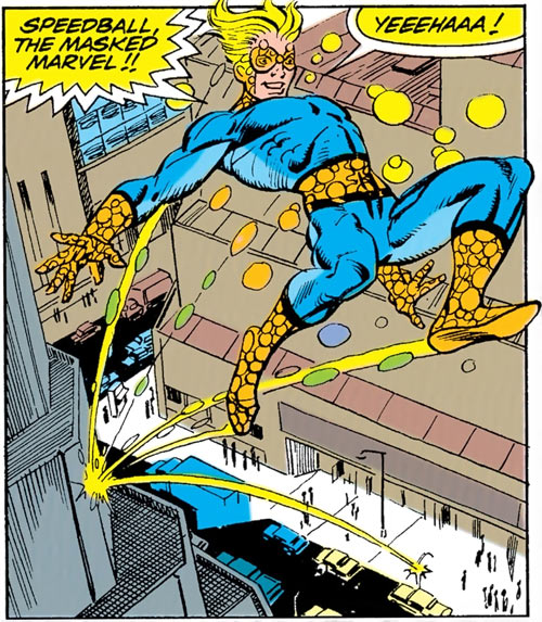 Speedball (Marvel Comics) (Classic career) bouncing in the streets