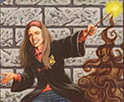 Girl student casting a fumos spell in Harry Potter