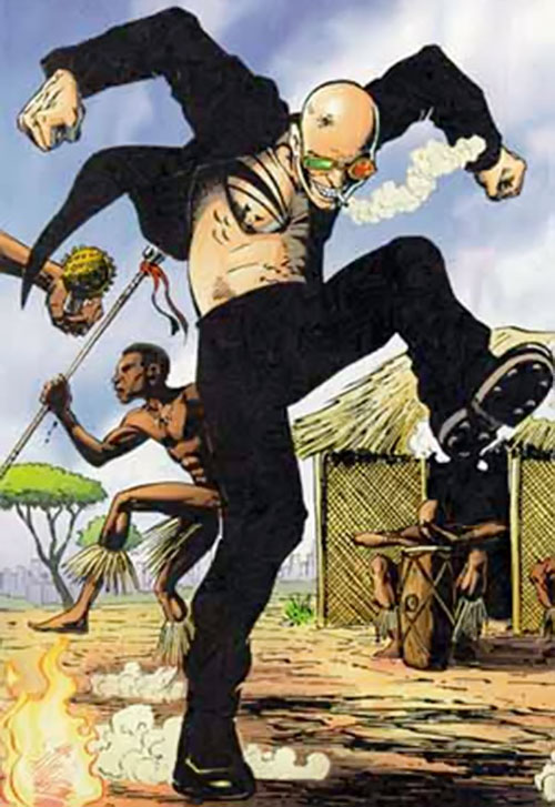 Spider Jerusalem (Transmetropolitan) (DC Comics) dancing somewhere in rural Africa