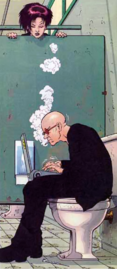 Spider Jerusalem (Transmetropolitan) (DC Comics) working in a toilet