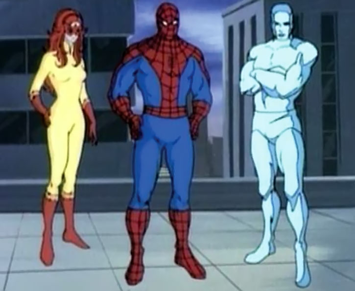 Spider-Man (Amazing Friends animated version) with Firestar and Iceman