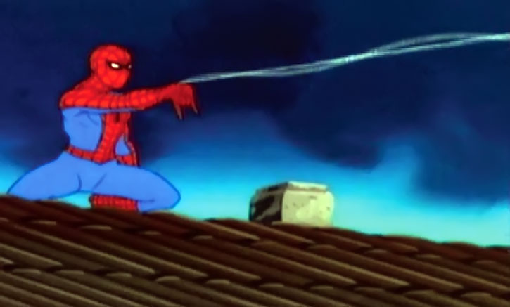 Spider-Man (Amazing Friends animated version) shooting webbing on a rooftop