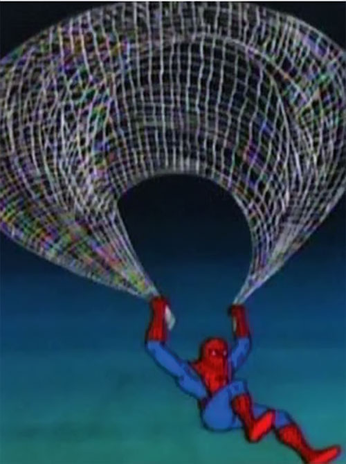 Spider-Man and his Amazing Friends cartoon - Spidey parachuting with his web