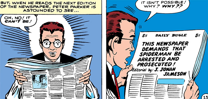 Early Spider-Man (Peter Parker) shocked by a Daily Bugle article, by Steve Ditko