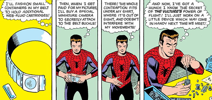Early Spider-Man (Peter Parker) explaining his gear