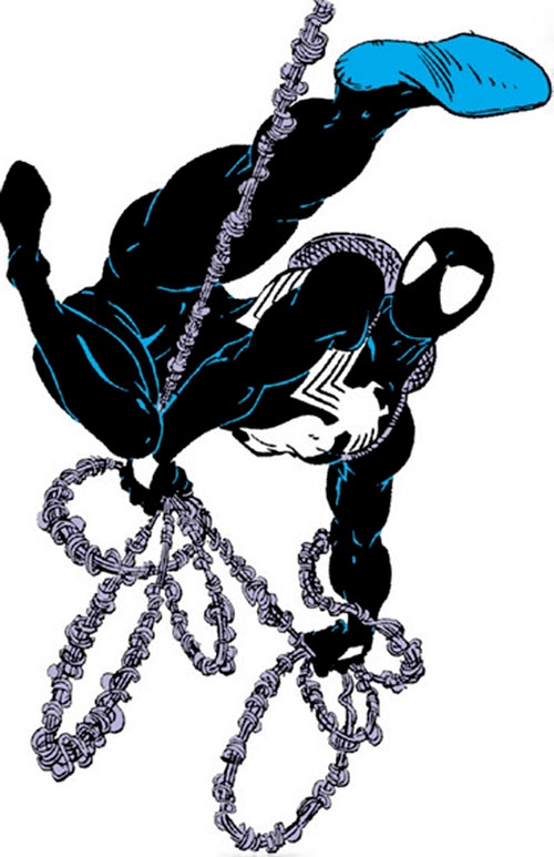 Spider-Man (Marvel Comics) (Peter Parker) web swinging in the black costume
