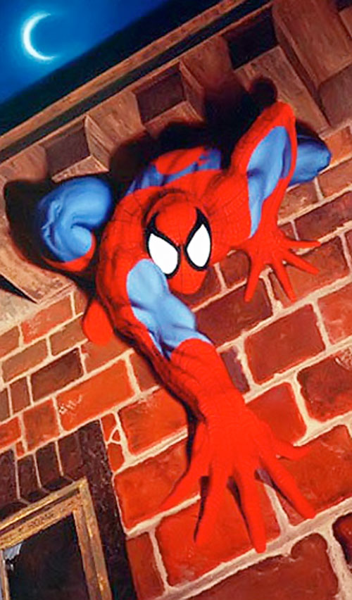 Spider-Man (Marvel Comics) (Peter Parker) on a wall under a roof