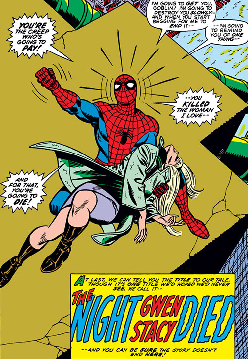 Spider-Man (Marvel Comics) (Peter Parker) - death of Gwen Stacy