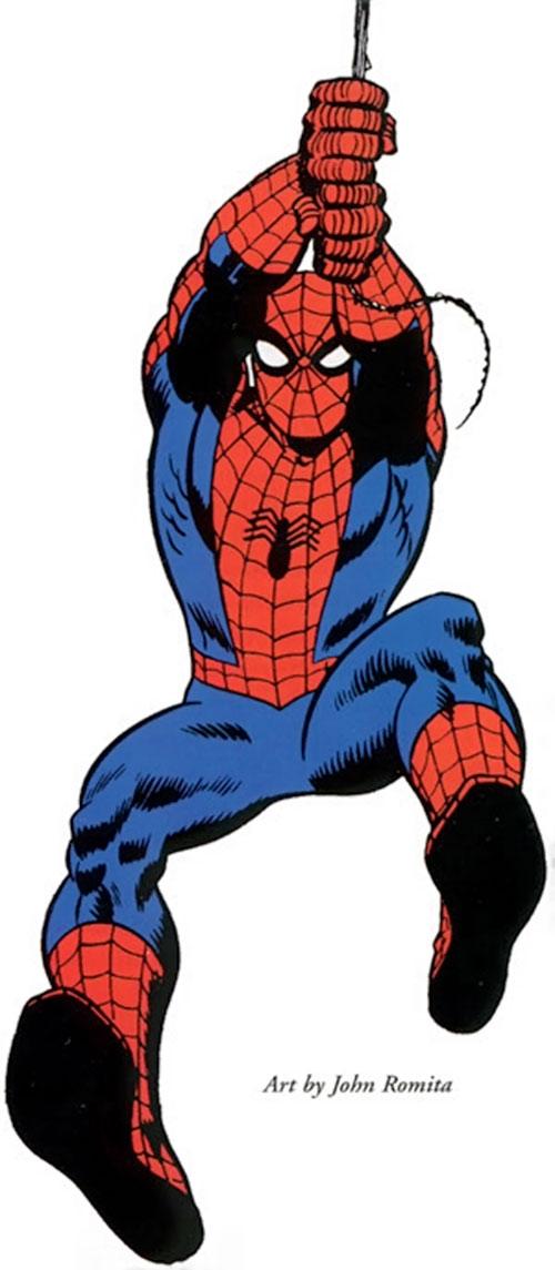 Spider-Man (Marvel Comics) (Peter Parker) swinging forward by Romita