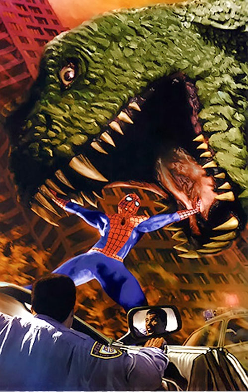 Spider-Man (Marvel Comics) (Peter Parker) vs. a dinosaur