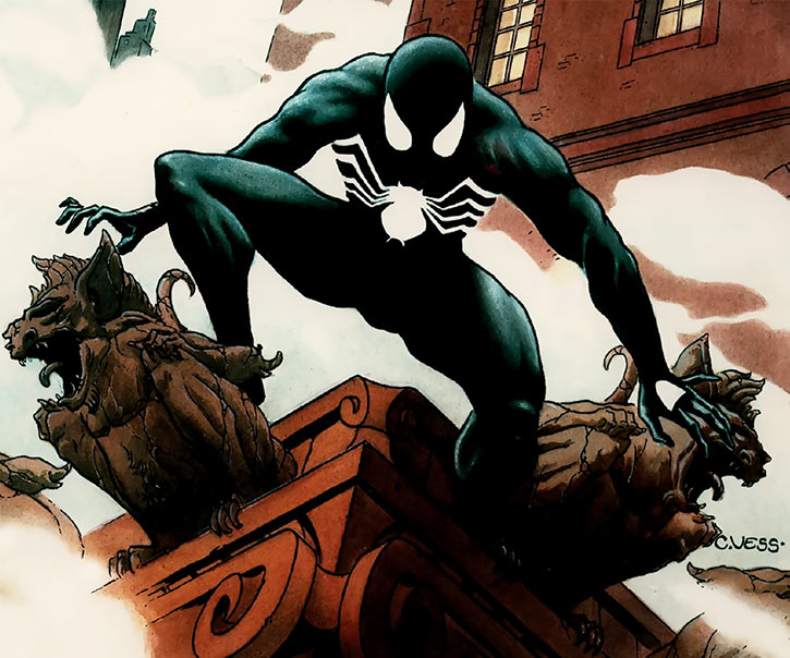Spider-Man (Peter Parker) in the black costume by Charles Veiss (Marvel Comics)