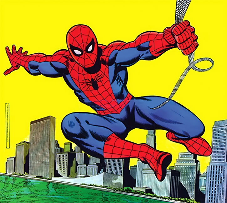 Classic drawing of Spider-Man (Peter Parker) swinging over the city