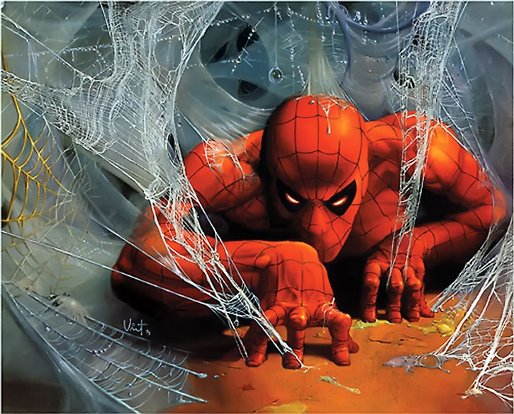 Spider-Man (Peter Parker) among his webs, painted art