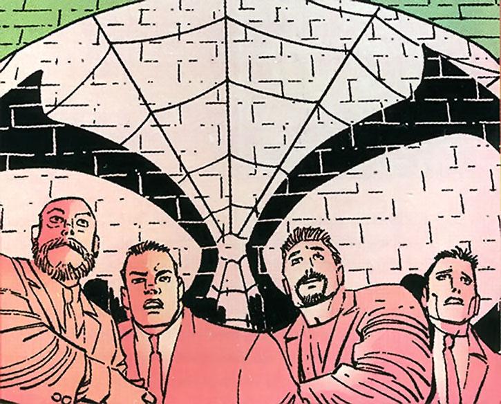 """Spider-Man (Peter Parker)'s """"spider-signal"""" lighting criminals"""