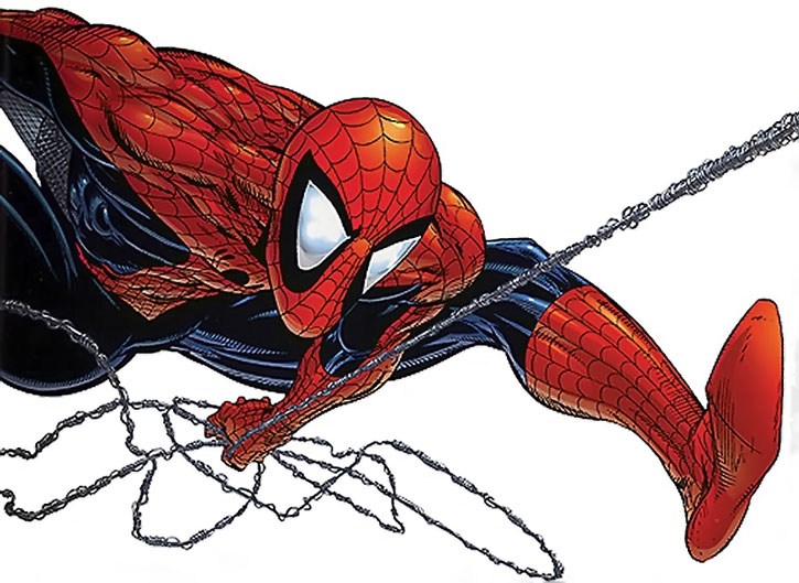 Spider-Man (Peter Parker) in a McFarlane pose, over a white background
