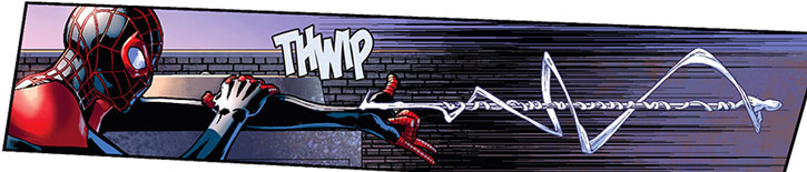 Spider-Man (Miles Morales) shoots webbing