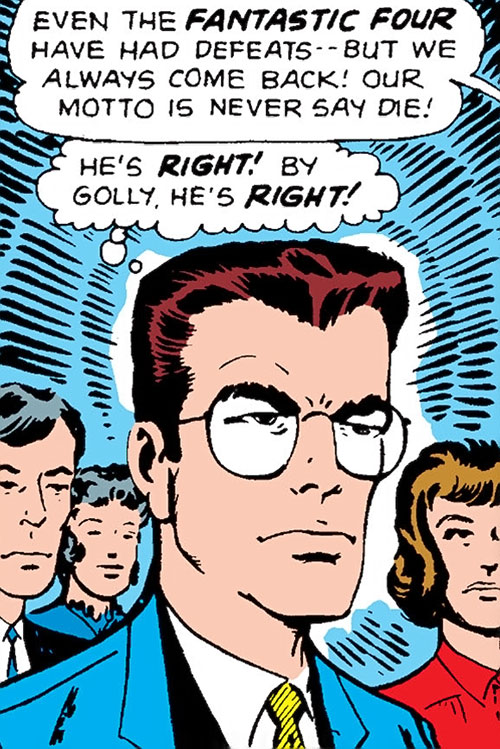 Early Spider-Man (Marvel Comics Lee Ditko) Peter Parker determined face closeup