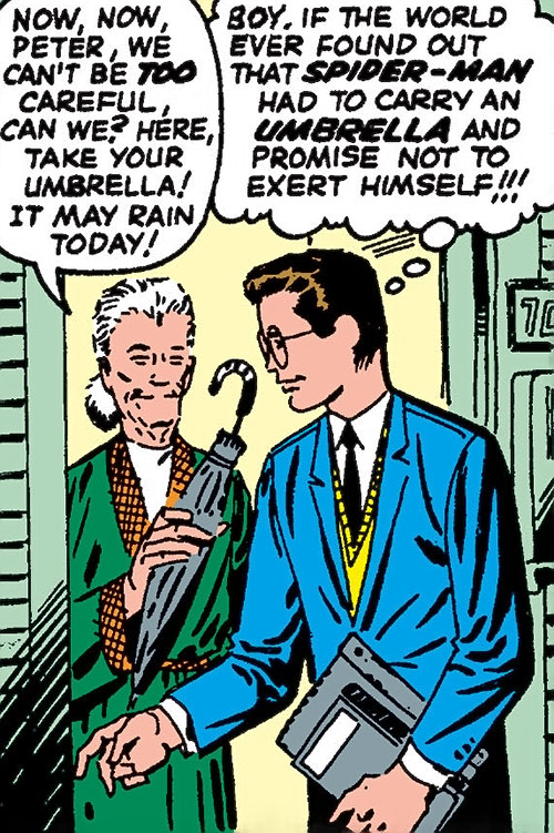 Early Spider-Man (Marvel Comics Lee Ditko) as Peter with Aunt May