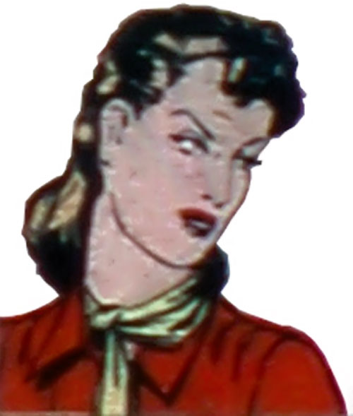 Spider Widow (Quality Comics) face closeup with red blouse