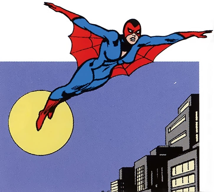 Early Spider-Woman (Jessica Drew) gliding over the city