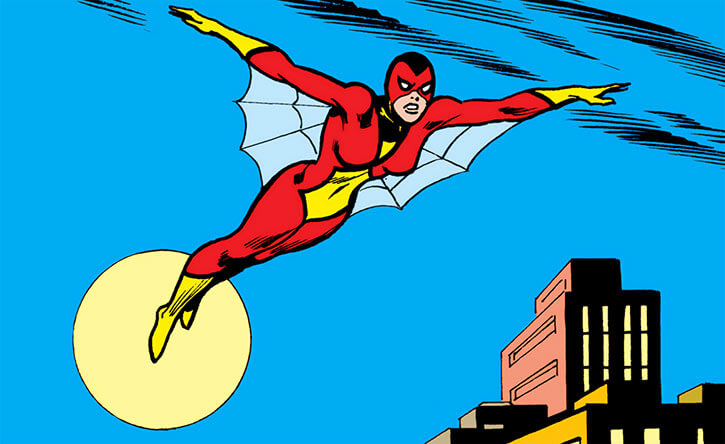 Spider-Woman (Marvel Comics) (Earliest version) gliding in the night